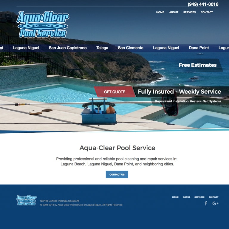AquaClear Pool Service home page