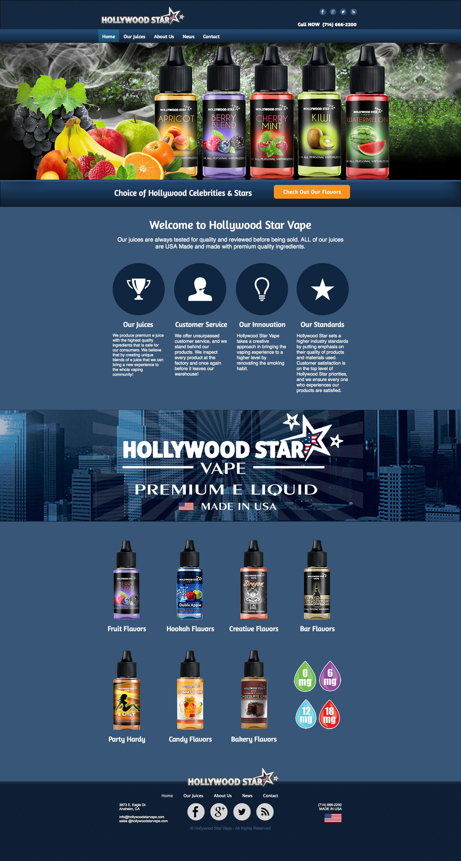 Hollywood Star Vape home page